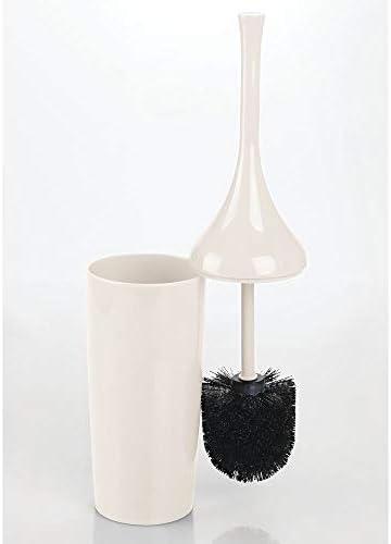 Elegante scopettino per wc con sostegno per il bagno degli ospiti crema mDesign Set da 2 scopino per bagno in plastica Scopino per wc con portascopino dal design moderno