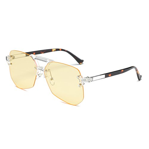 Amomoma Oversized Eyewear Rimless Sunglasses with Mirrored/Clear Lens Glasses AM2007S Clear Yellow - Light Yellow Sunglasses