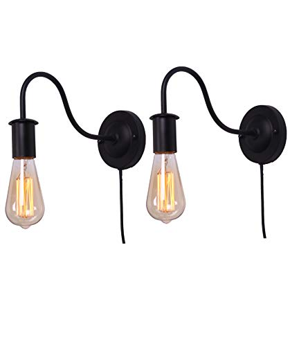 BRIGHTESS Retro Wall Sconces Light Wall Lamp Wall Mount Set of 2 Packs E26 Base Plug in Black Industrial Vintage Edison Wall Lamp Fixture Led Porch Light for Indoor Bathroom by BRIGHTESS (Image #5)