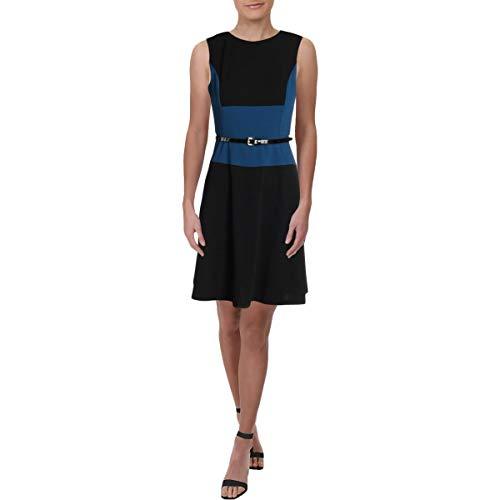 Tommy Hilfiger Womens Belted Colorblock Cocktail Dress Black 16