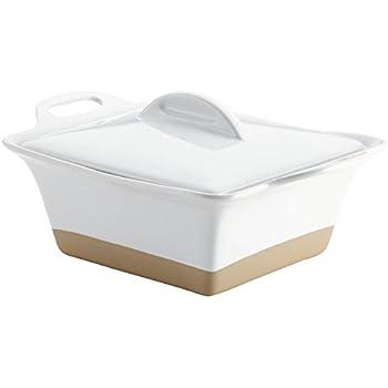 Rachael Ray 47027 Glaze Ceramics Dish/Casserole Pan with Lid, 2.5 Quart, White