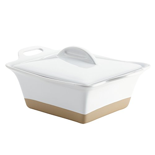 Rachael Ray 47027 Collection Inspired by Copenhagen Cozy Small Stoneware Square Casserole, White ()