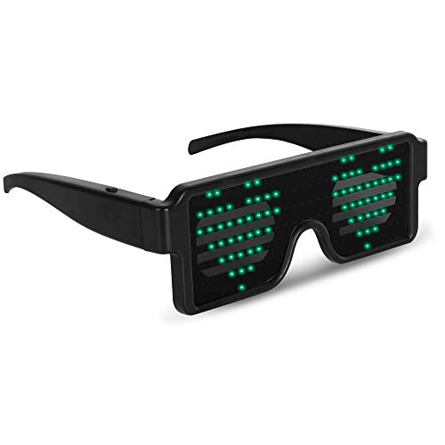 GREEN LED Flash Glasses 8 Adjustable Patterns Luminous Flashing Shades Eye Wear For Birthday Party Corporate Events Raves Music Festivals Nightclubs Concerts Weddings Dancing Group Fitness Great ()