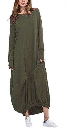 YOGLY Damen Kleid Elegant Langarm Maxikleid Grün 8UPjGW7
