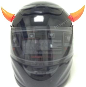2 horns included Orange Stick on Motorcycle Helmet Horns