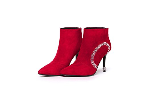 Women's Thin Heel Pointed Toe Rhinestone Suede Leather Ankle Boots Red uVoM2u4