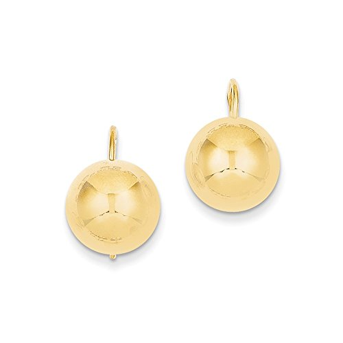 Button Half Ball Kidney Wire Earrings in Genuine 14k Yellow Gold - 12 mm (Kidney Wire Earrings Ball)