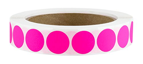 "3/4"" Fluorescent Pink Color Code Dot Labels on Cores - Permanent Adhesive, 0.75 inch - 1,000/Roll"