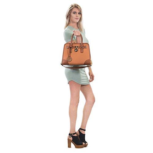 Dasein Women's Designer Padlock Belted Top Handle Satchel Handbag Purse Shoulder Bag With Matching Wallet (02-6892 Simple Color Pewter + Matching wallet) by Dasein (Image #1)