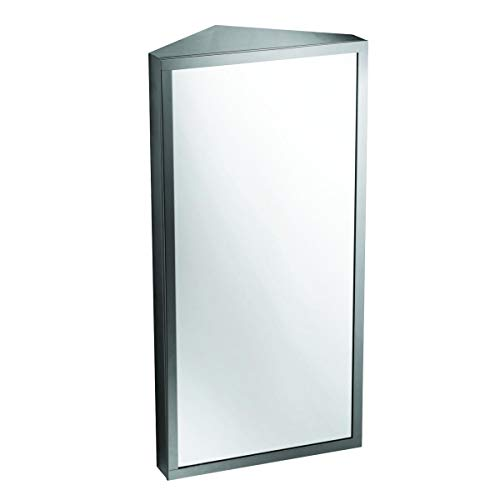 Renovator's Supply Wall Mount Corner Medicine Cabinet with Mirror Brushed Stainless -