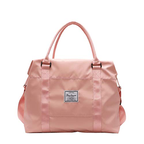 BAAFG Stylish Canvas Tote Weekend Bag Big Tote Hand Luggage Bag Travel Tote Backpack Holdall,Pink-M