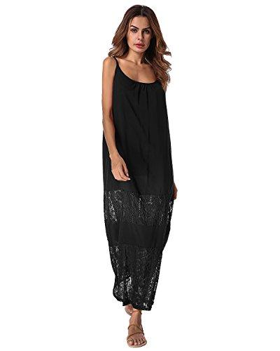 ZANZEA Womens Boho Floral Print Spaghetti Strap Summer Beach Long Maxi Dress