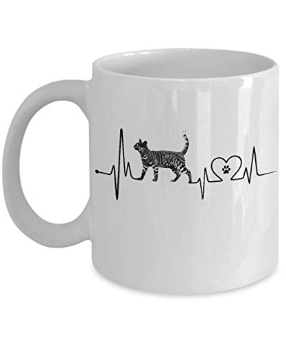 Funny Bengal Cat Heartbeat Coffee Mug, St Patrick's Day, Christmas, Xmas, Birthday Gifts, Rude Sarcastic Mugs Memes Cup