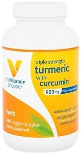 The Vitamin Shoppe Triple Strength Turmeric with Curcumin 900mg, Supports Joint Mobility Provides Antioxidant Benefits 5mg Bioperine to Enhance Nutrient Absorption Once Daily 240 Capsules