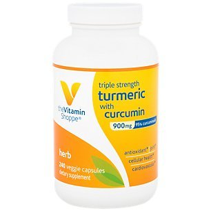 The Vitamin Shoppe Triple Strength Turmeric with Curcumin 900mg, Supports Joint Mobility Provides Antioxidant Benefits 5mg Bioperine to Enhance Nutrient Absorption Once Daily (240 Capsules)
