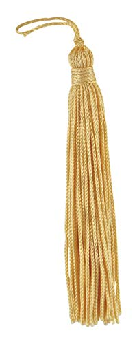 DÉCOPRO Set of 10 Light Gold Chainette Tassel, 4 Inch Long with 1 Inch Loop, Basic Trim Collection Style# RT04 Color:Light Gold - ()