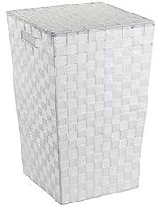 WENKO Tvättkorg Adria Square vit – tvättkorg med lock kapacitet: 48 l, polypropen, 33 x 53 x 33 cm, vit