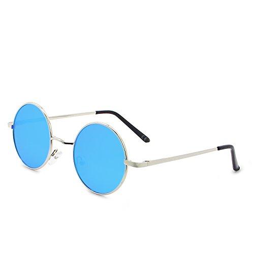 Ronde De Classique Cadre Soleil Bleue Glace Argenté Mode AMZTM Polarisées Lentille Lunettes UAwqZFUx