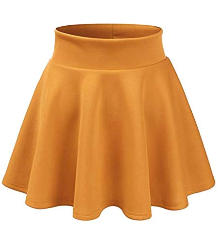 Waist Woven Elastic Skirt (Maryclan Girls and Junior Stretchy Scuba Elastic Waist Band A-Line Flared Swing Skirt - Made in USA (Mustard, L/XL))