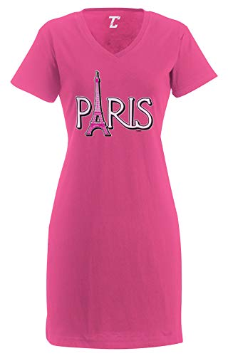 Paris Eiffel Tower - France Tourist Women's Nightshirt (Pink, Large/X-Large)