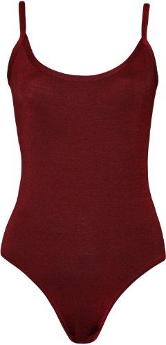 Womens Strappy Sleeveless Ladies Camisole Vest Bodysuit Leotard Top - Wine - 8-10