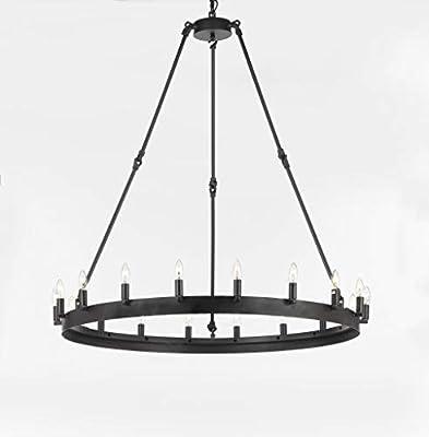 "Wrought Iron Vintage Barn Metal Castile One Tier Chandelier Chandeliers Industrial Loft Rustic Lighting W 38"" H 40"""