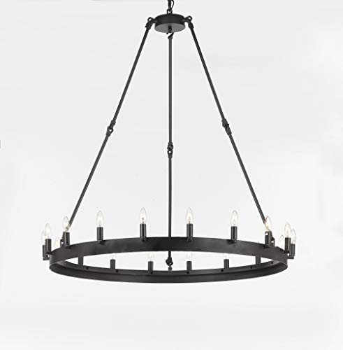 Wrought Iron Vintage Barn Metal Castile One Tier Chandelier Chandeliers Industrial Loft Rustic Lighting W 38