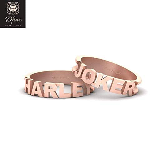 Joker and Harley Quinn Mad Love Ring Set His and Her Matching Couple Bands Solid 18k Rose Gold