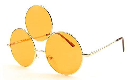(Orange Third Eye Sunglasses by Shivas Includes Free Carrying Pouch Purple Rain Style Prince Costume (Orange,)