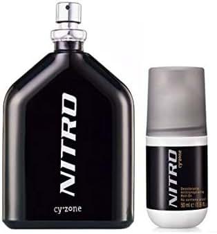 Nitro Eau de Toilette for Men 3.4 oz and Nitro Antiperspirant Roll-On Deodorant 1.7 oz by Cyzone Set