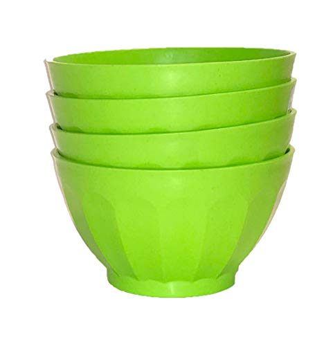 Mintra Unbreakable Plastic Bowl, GREEN 4pk - Medium, 750ml, 25oz, 5.5inW x 3inH - (Part Of A Set) - Salad, Snacks, Breakfast Cereal, Fruit, Popcorn, Soup, Colorful, Shatterproof, BPA -