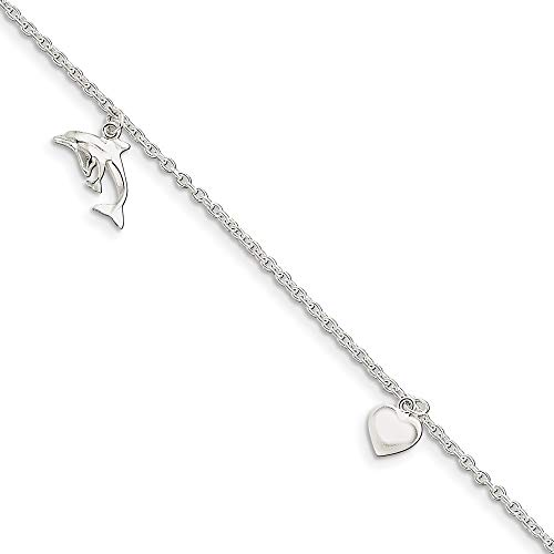 (Roy Rose Jewelry Sterling Silver Polished Heart, Star and Dolphin Anklet 9'' length)