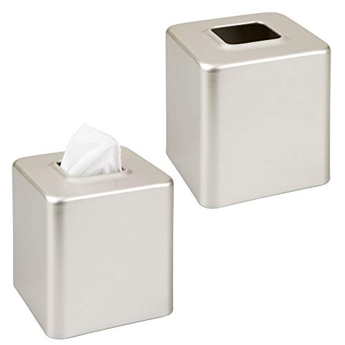 mDesign Modern Square Metal Paper Facial Tissue Box Cover Holder for Bathroom Vanity Countertops, Bedroom Dressers, Night Stands, Desks and Tables, 2 Pack - Satin