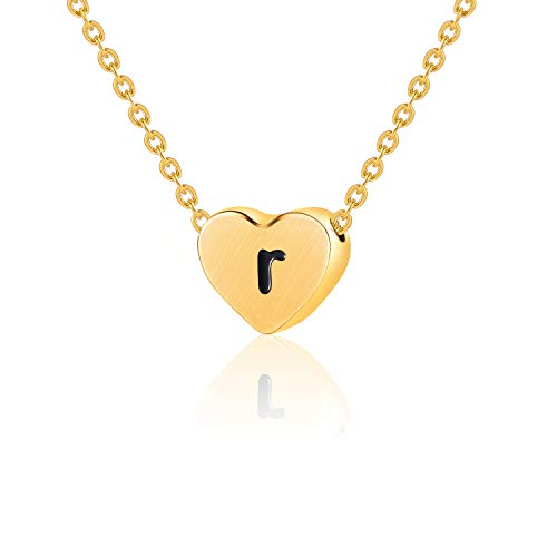 WIGERLON Initial Letter Heart Necklace:Stainless Steel 14K Gold Plated for Women and Girls from A-Z Letter R (Plate Steel 14k Gold)