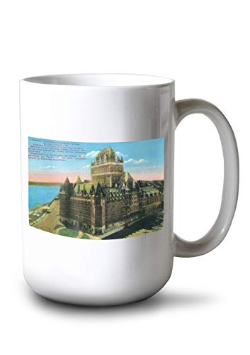 Lantern Press Quebec, Canada - Exterior View of The Chateau Frontenac and Dufferin Terrace (15oz White Ceramic Mug)
