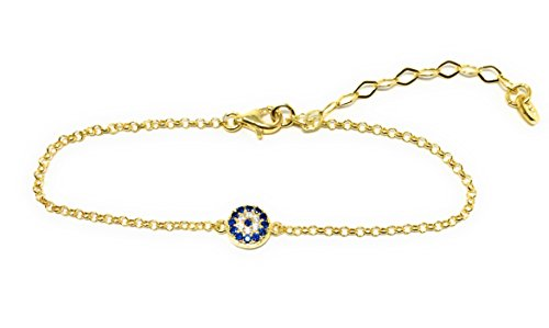 Evil eye Chain Bracelet Sterling Silver Turkish Little Round Charm Zircon Crystals Good Luck Amulet (Gold Plated)