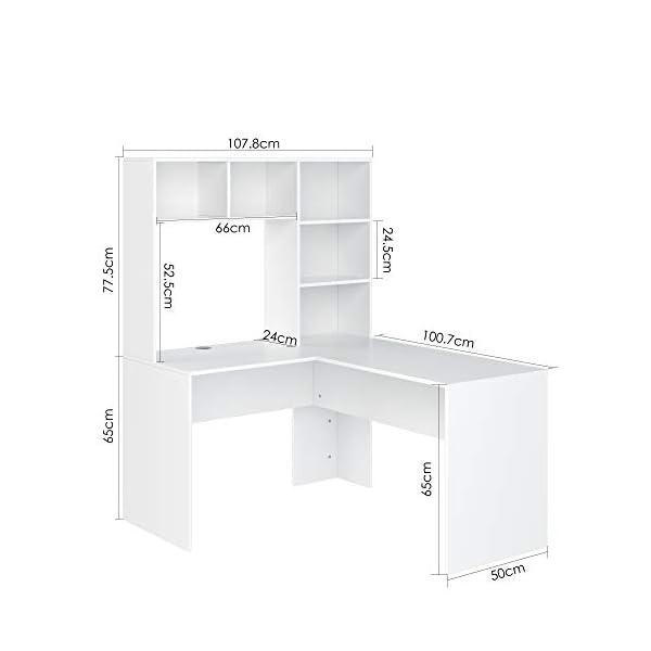 Homfa Table de Bureau Ordinateur Bibliothèque Étagère Livres Table de Travail PC Table d'ordinateur 124,7×107,8×142,5 cm