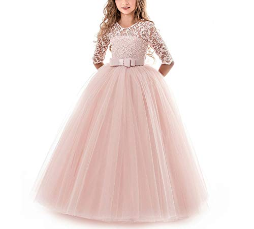 Kids Bridesmaid Flower Girls Dresses for Party and Wedding Dress Girls Easter Children Pageant Gown Girls Princess Dress,Pink,4 ()