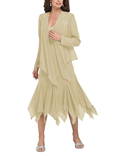 H.S.D Women's Ruffles Chiffon Mother of the Bride Dress with Jacket Khaki Alfred Angelo Mother Of The Bride