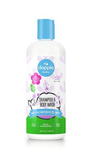 DAPPLE Baby Shampoo & Body Wash, Lavender, 16.9 Fluid Ounce, Sulfate-Free Baby Shampoo, Plant-Based Baby Shampoo and Baby Body Wash, Sensitive Skin Body Wash
