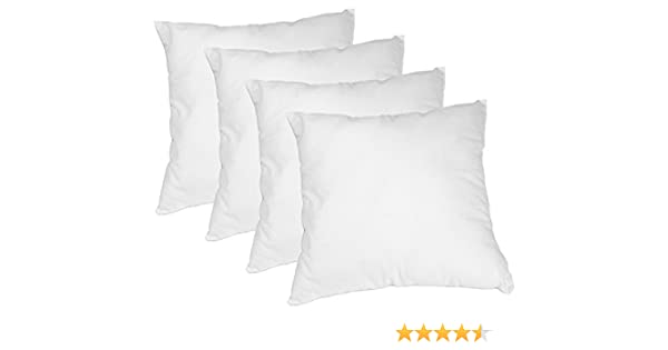Cojines Sintéticos Aprox. 40 x 40 cm Funda Algodón Puro Relleno De Copos Poliéster Sauves Y Acolchado Color Blanco (Set De 4): Amazon.es: Hogar