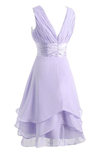 Brautbegleiterinkleid amp;Charmeuse Lila Beliebt Damen Abendkleid Traeger Ivydressing Festkleid V Gestuft Ausschnitt Chiffon RfwnOq8