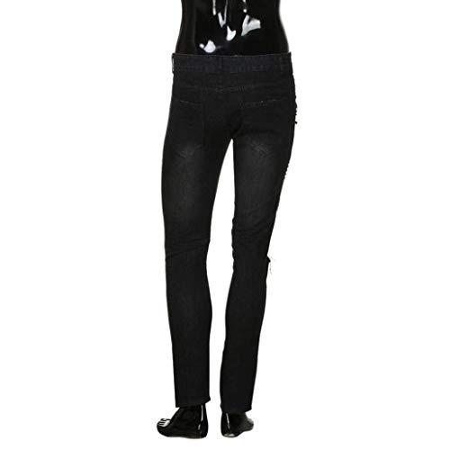 Comode Ricamo Abiti Nero Lunghi Pantaloni Uomo Skinny Fibbia Cartoon Biker Sport Denim Sottile Moda Fitness Frayed Taglie Jeans Rip Distressed Pants w4qAEAHYx