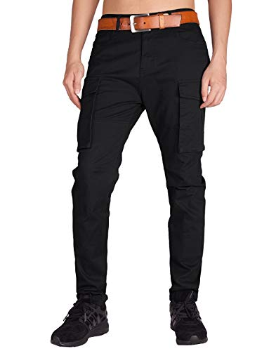 ITALY MORN Men's Cargo Pants Athletic Fit Big Bellows Pockets (XS, Black) ()