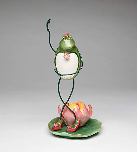 Cosmos Gifts Fine Ceramic Lady Frog Tango Dancing with Lotus Water Lily Flower Tea Light Tealight Candle Holder Figurine, 10