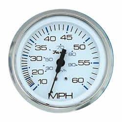 Faria 33811 Chesapeake Pitot Speedometer-White 4'' SS, 60 MPH by Faria