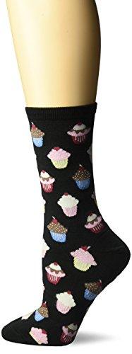 Cupcake Gift - Hot Sox Women's Originals Classics Novelty Crew Socks, Cupcakes (Black), Shoe Size: 4-10