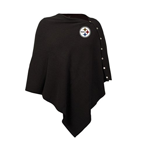 NFL Women's Black Out Button Poncho at SteelerMania