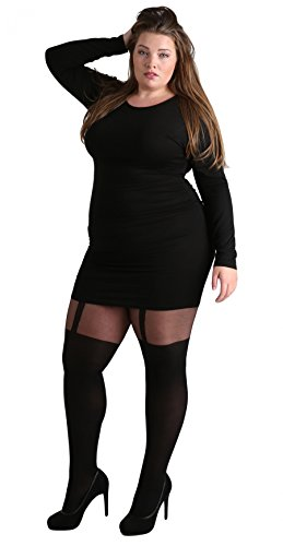 Plus Size Suspender Pantyhose - Plus Size Luxury Suspender Effect Tights Black. Pantyhose with Thigh High Over Knee Effect. [Made in Italy] (16-22)