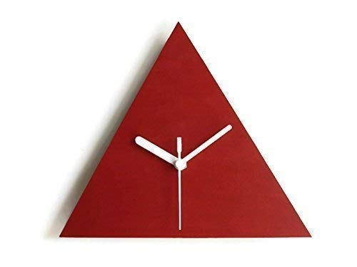 7,5 Triangular small wooden quiet wall clock for living room in many colors as red No ticking wood modern design tiny silent office clocks Unique designer little bedroom home decor no frame frameless